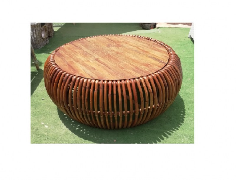 Round Coffee table natural rattan and wood
