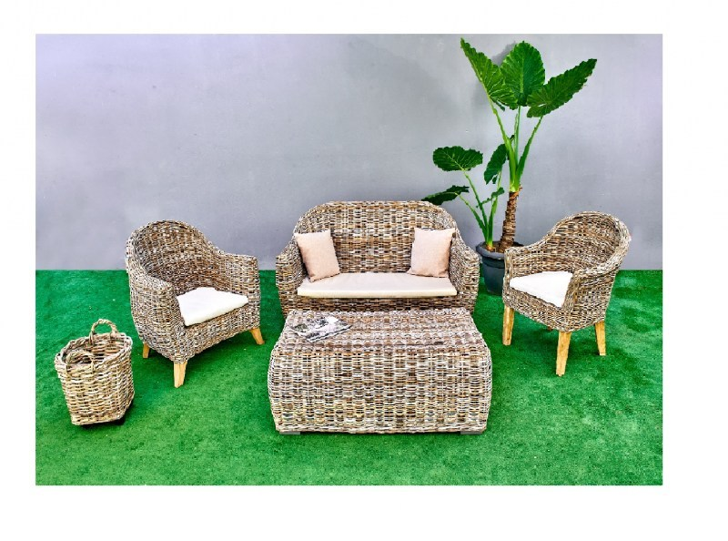 Set couch sofa armchair coffee table rattan outdoor