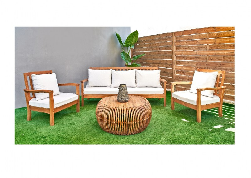 Set teak wooden sofa couch armchairs coffee table rattan