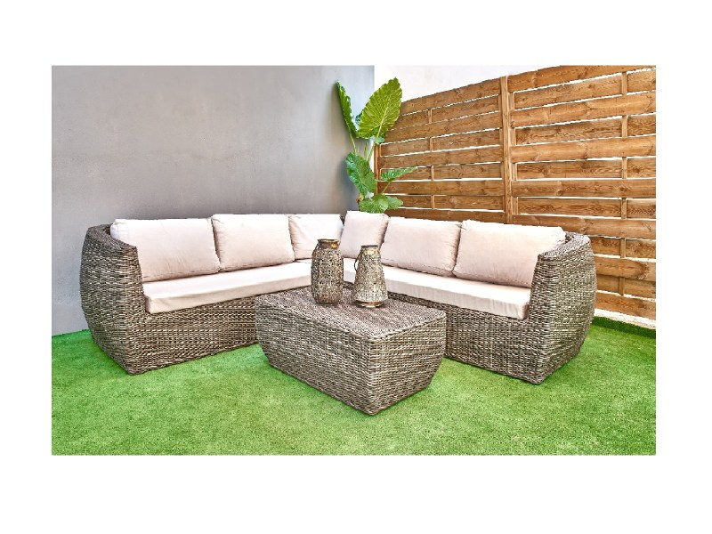 Set wicker outdoor corner sofa couch coffee table