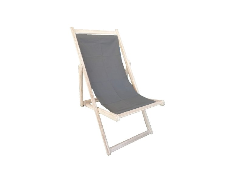 sku 622 relax chair from teak wood  with cotten grey fabric